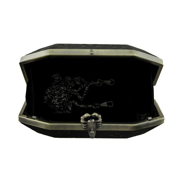 Black Embossed Scorpion Clutch Purse W/Removable Womens Clutch Handbags