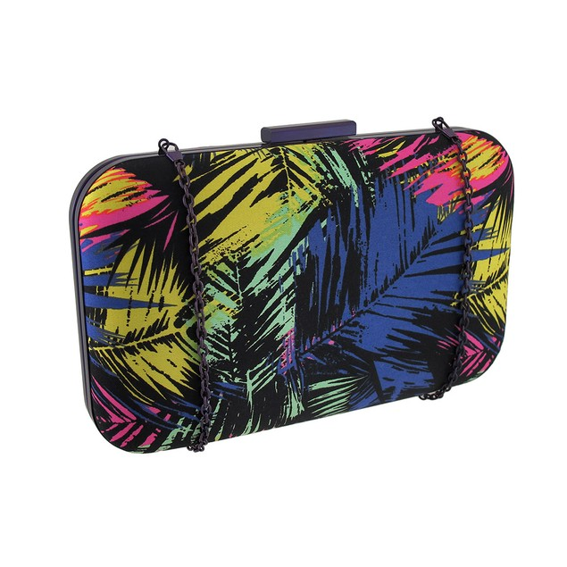 Colorful Palms Fabric Covered Clutch Purse Womens Clutch Handbags