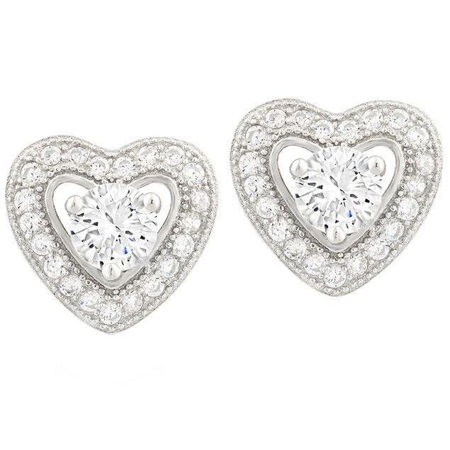 Sterling Silver Simulated Diamond Halo Heart Set Studs