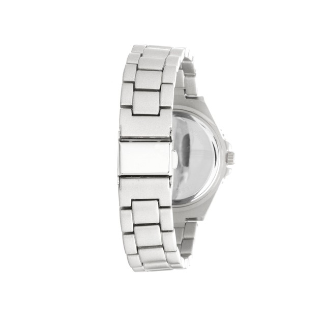 38mm Silver Tone Diamond Accent Watch