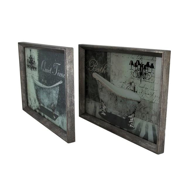 2 Pc. Framed Quiet Time Bath Vintage Tub Foiled Prints
