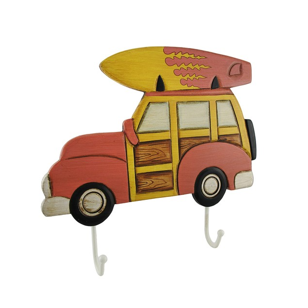 Classic Red Wood Panel Surfer Station Wagon Wall Coat Hangers