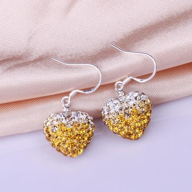 Heart Shaped Austrian Stone Drop Earrings -Yellow Citrine