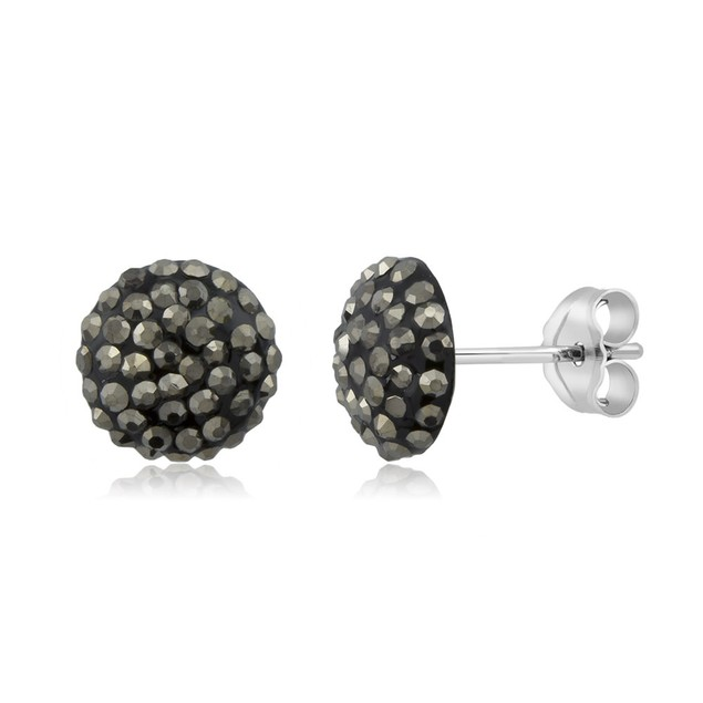 Sterling Silver Sparkling Crystal 10mm Stud Earrings - Round Grey