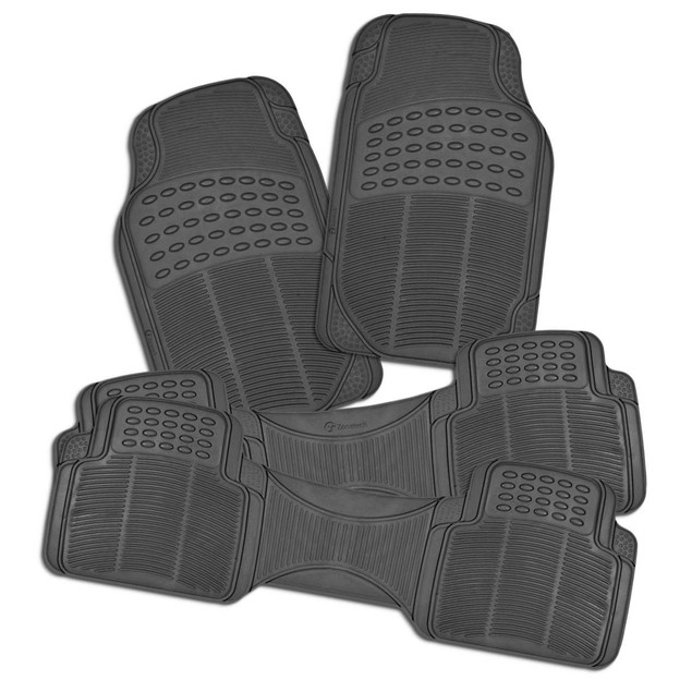 Zone Tech 3 Row 4 Piece Gray Universal Rubber All Weather Car Floor Mats