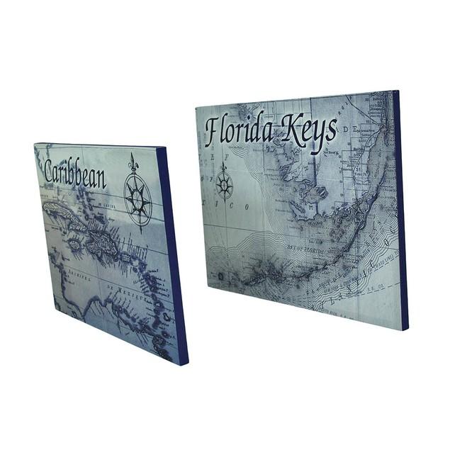 Caribbean And Florida Keys Destination Map Canvas Prints