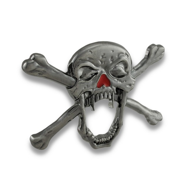 Creepy Vampire Skull & Crossbones Belt Buckle Mens Belt Buckles