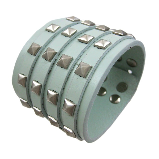 Gray Leather 4 Row Pyramid Studded Wristband Mens Leather Bracelets