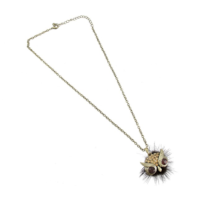 Burnished Gold Owl Face Necklace With Faux Fur And Chain Necklaces