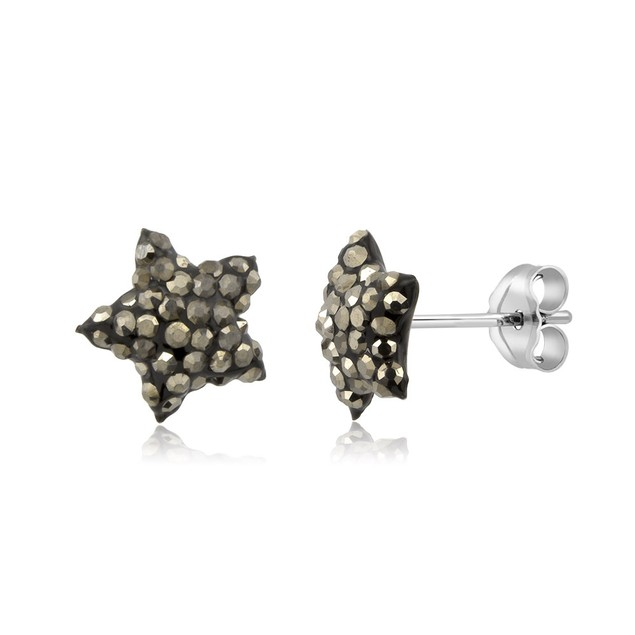 Sterling Silver Sparkling Crystal 10mm Stud Earrings - Star Grey