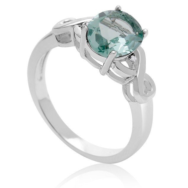 1 3/4 Ct Green Amethyst and Diamond Ring