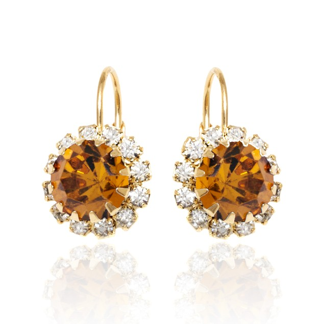 18k Gold Plated Citrine and Clear Crystal Flower Huggie Earrings