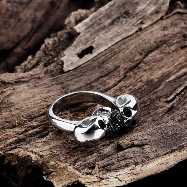 Double Stainless Steel Skull Ring