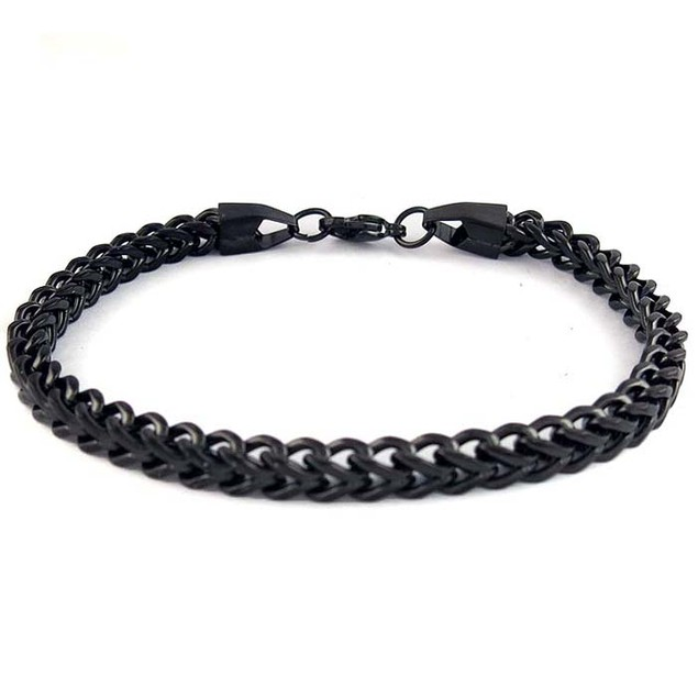 Stainless Steel Foxtail Black Bracelet