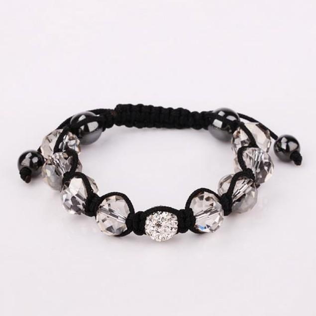 Disco Ball Austrian Crystal Strap Bracelet & Gemstone Beads -Light Crystals