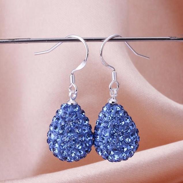 Pear Shaped Solid Austrian Stone Drop Earrings - Light Blue