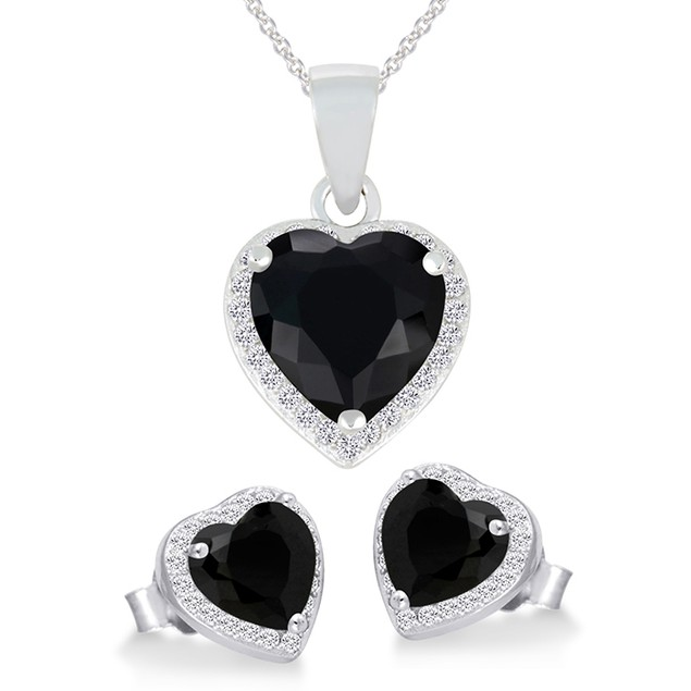 Sterling Silver Black Imitation Heart Shaped Necklace & Earring Set