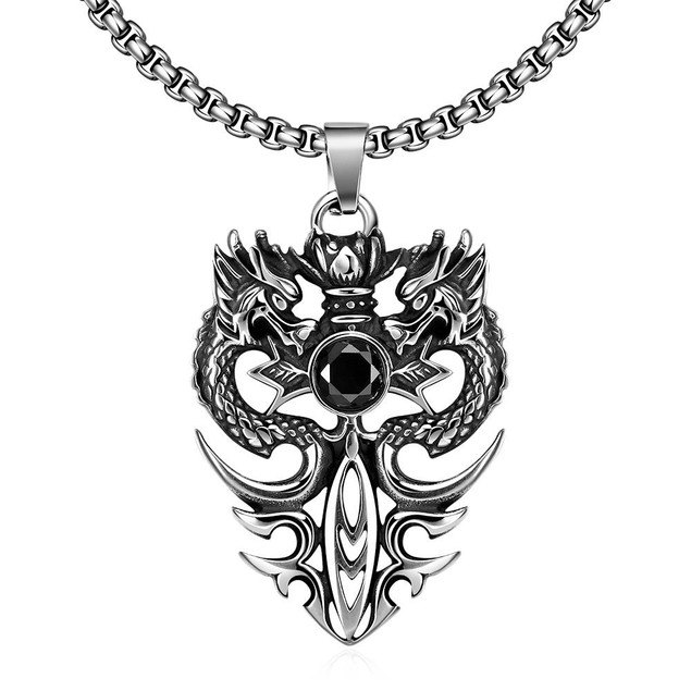 Alpha Steel Double Dragon Emblem Stainless Steel Necklace