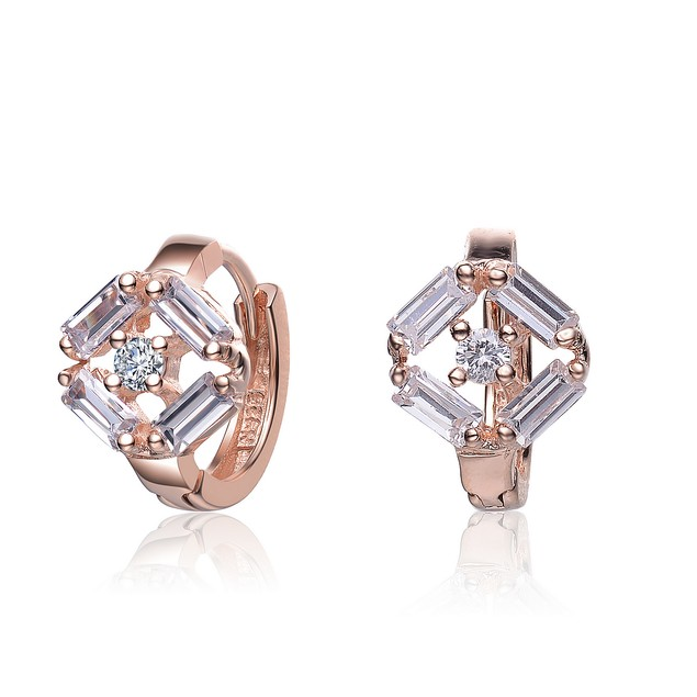 C.Z. Sterling Silver Rose Plated Small Huggie Earrings