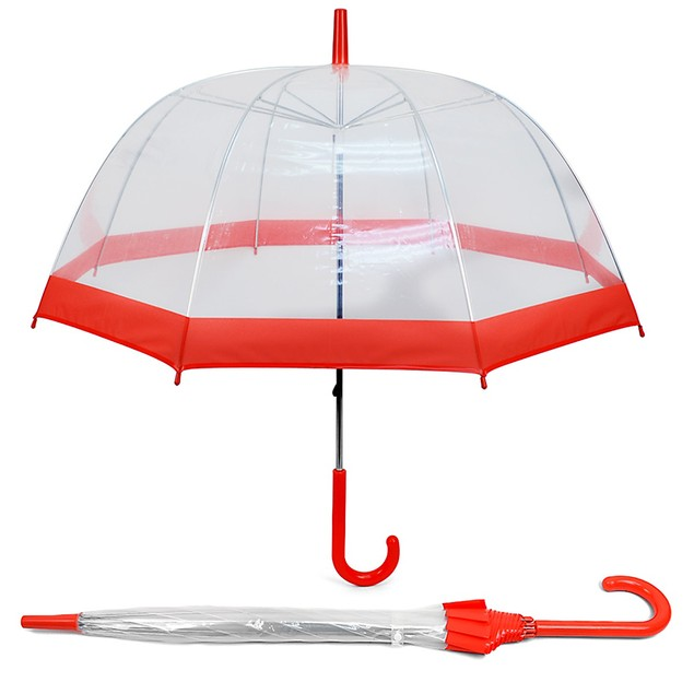 See-Thru-Bubble Wind-Resistant Premium Clear Umbrella with Color Border
