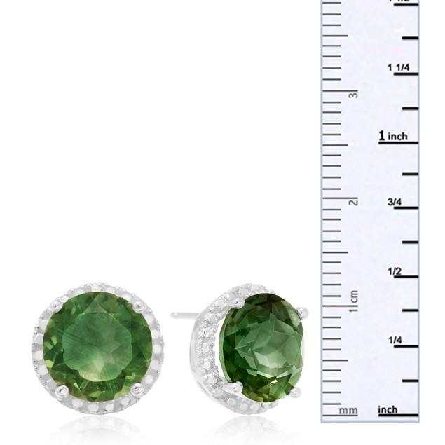 Sterling Silver 2 Carat Round Green Amethyst Quartz Halo Earrings