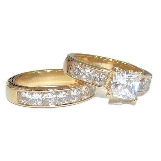 His Hers 3 Piece Cz Mens's Women's Gold IP Wedding Engagement Ring Band Set