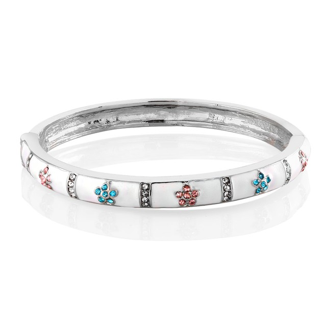 Kids Enamel Flowers Bangle Bracelet