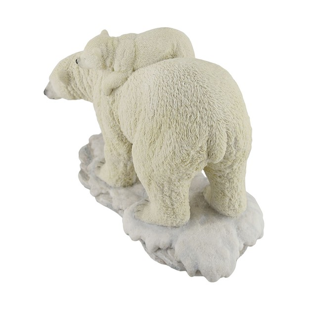 Polar Bear Mother With Adorable Freeloading Cub Statues