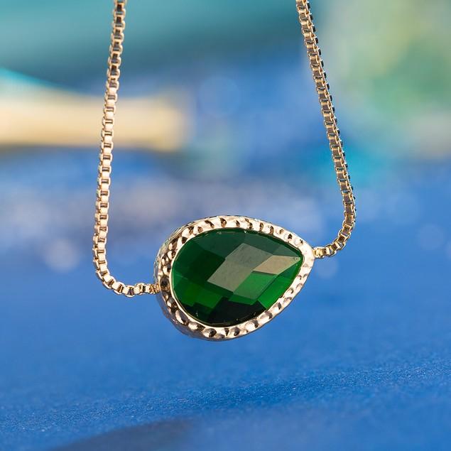 Gold Plated Oval Vivid Emerald Gem Bracelet