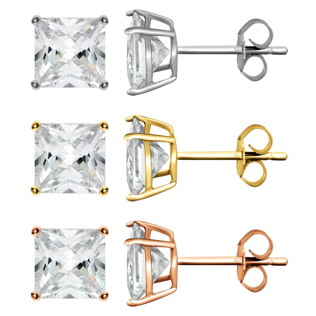 3-Pack: Tri-Color Princess-Cut Cubic Zirconia Stud Earrings - Choose Size