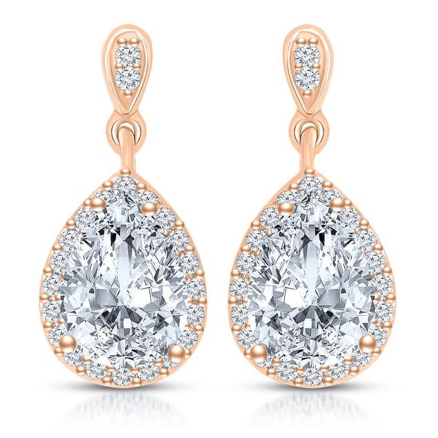 C.Z. Sterling Silver Rose Plated Pear Shape Drop Earrings