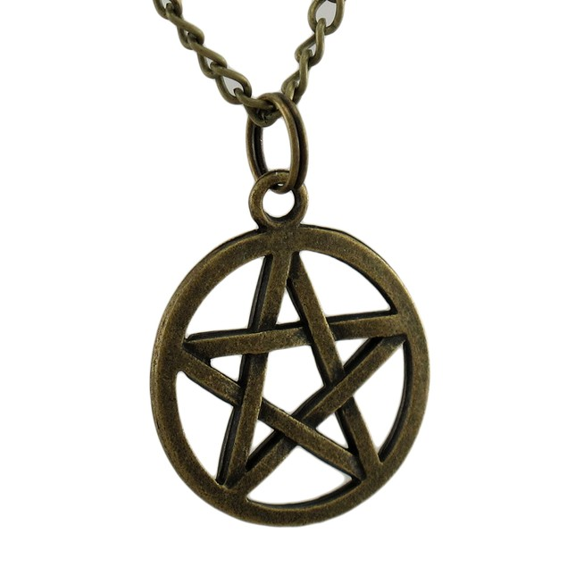 Antiqued Bronze Finish Pagan Pentacle Pendant W/ Mens Pendant Necklaces