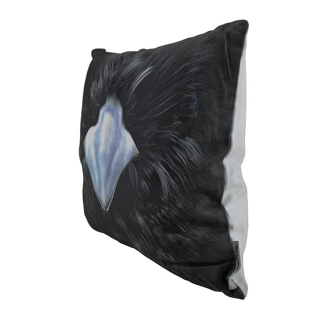 18 In. Black Raven Face Decorative Throw Pillow Throw Pillows