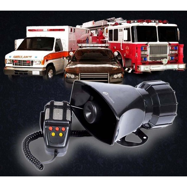 Zone Tech Car Vehicle 80 Watt Police Air Horn PA 5 Tone Siren System