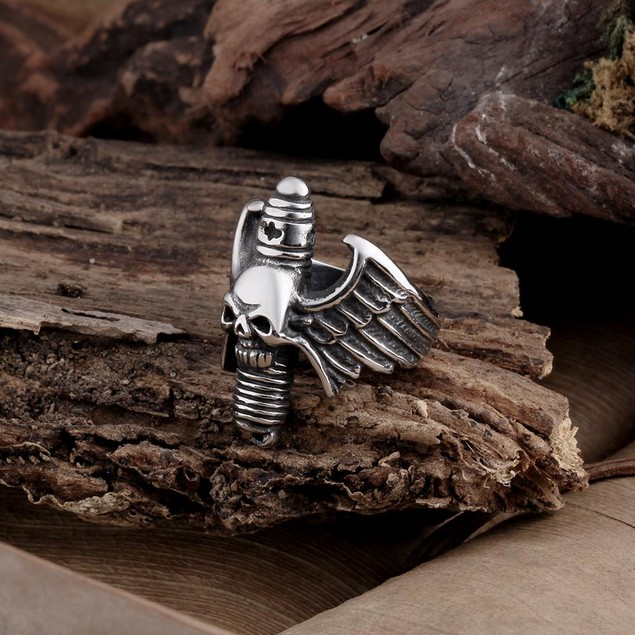 Flying Skullhead Stainless Steel Ring