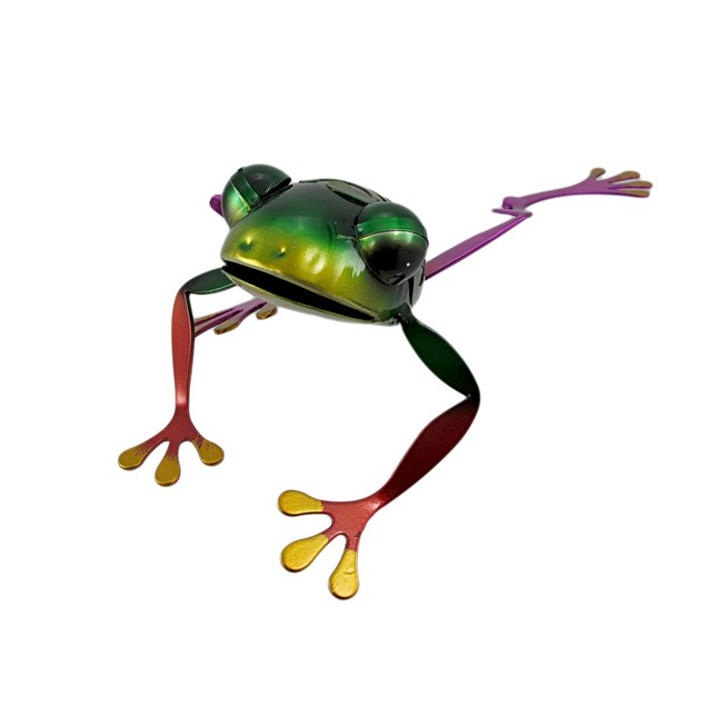 Adorable Multicolor Stretching Tree Frog Metal Statues