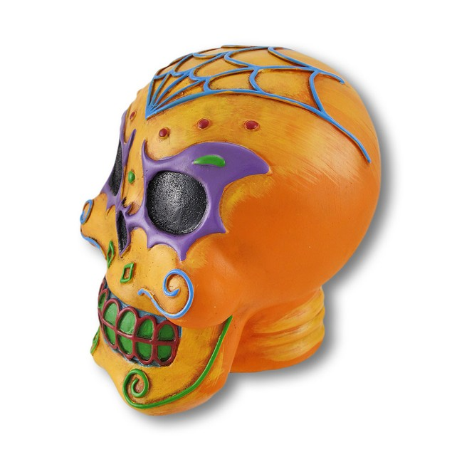 Orange Sugar Skull Statue Head Sculptures