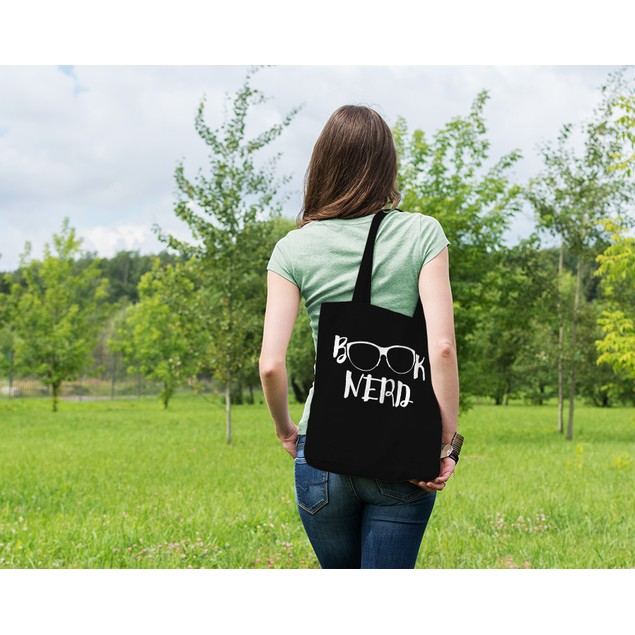 Book Nerd Black Tote Bag