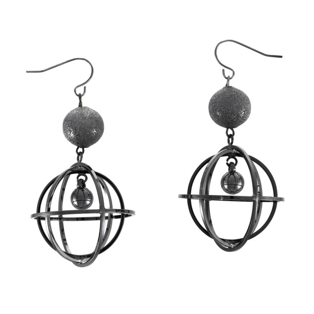 Gunmetal Finished Caged Bead Dangle Earrings Hoop Earrings
