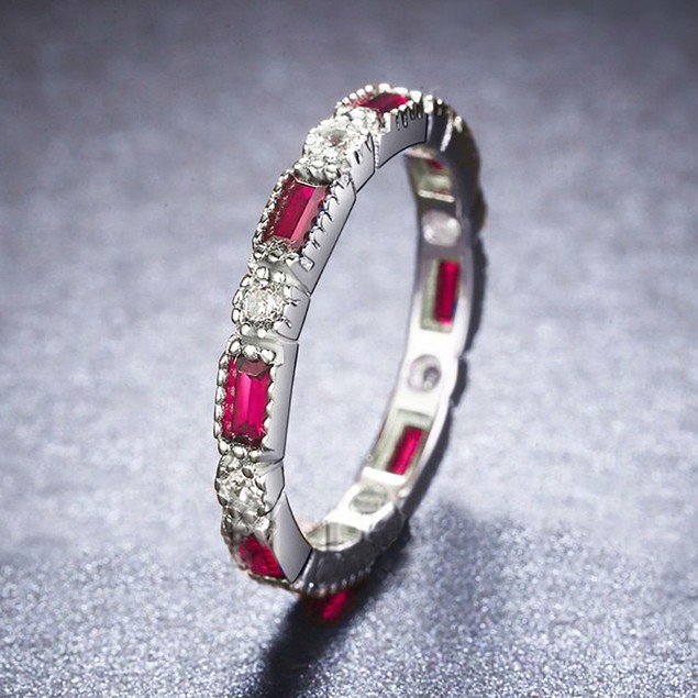 3.24cttw Alternating-Cut Cubic Zirconia Eternity Band Ring - 3 Colors