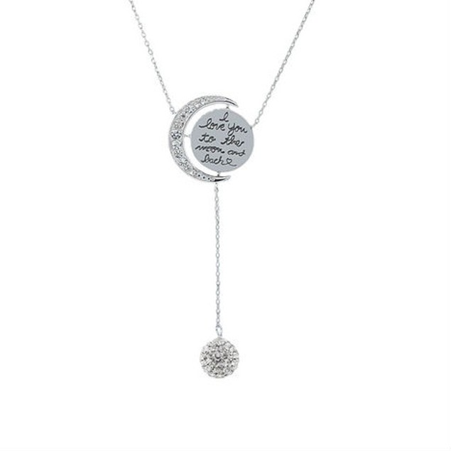 Cubic Zirconia I Love You to The Moon & Back Lariat Necklace