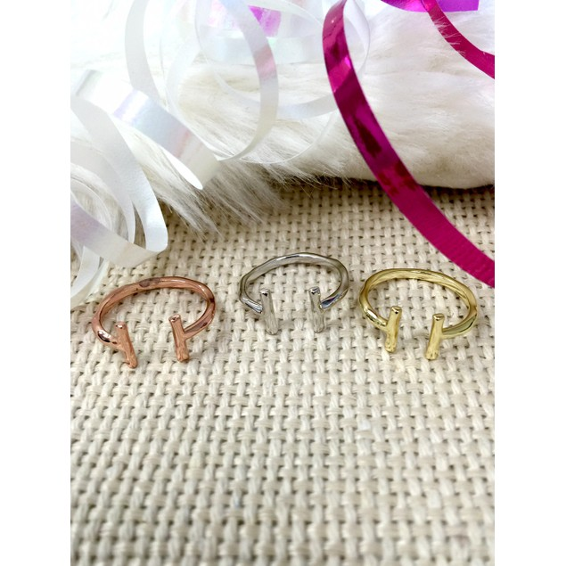 Gold Plated Parallel Bar Ring - 3 Colors