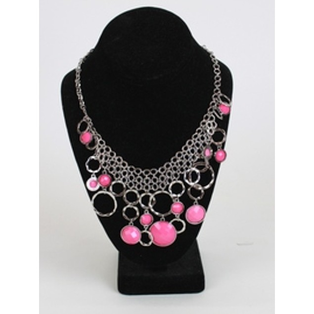 Multi Layer Bubble Necklace - Pink