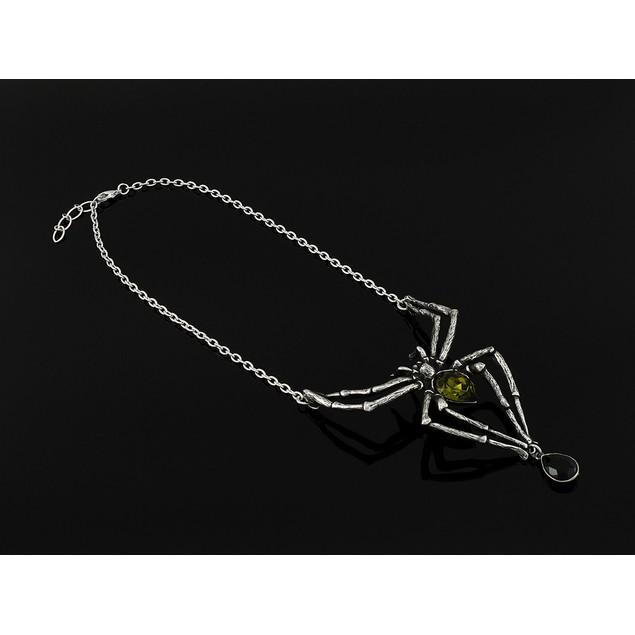 Alchemy Gothic Emerald Venom Crystal Spider Womens Pendant Necklaces