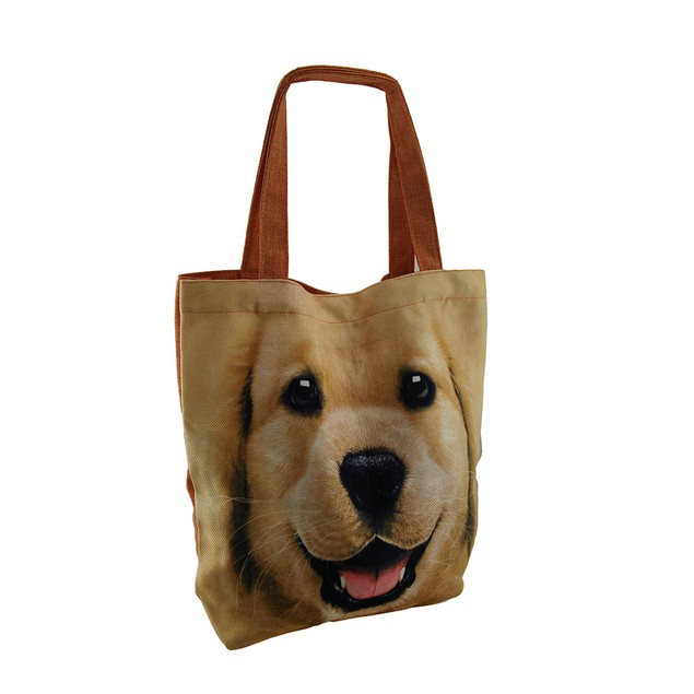 Happy Dog Large Yellow Lab Face Canvas Tote Bag Womens Tote Bags