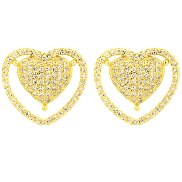 18K Gold Over Sterling Silver Simulated Diamond Pronged Heart Earrings
