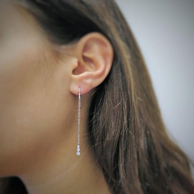 Sterling Silver Bezel Drop Earrings - 2 Colors