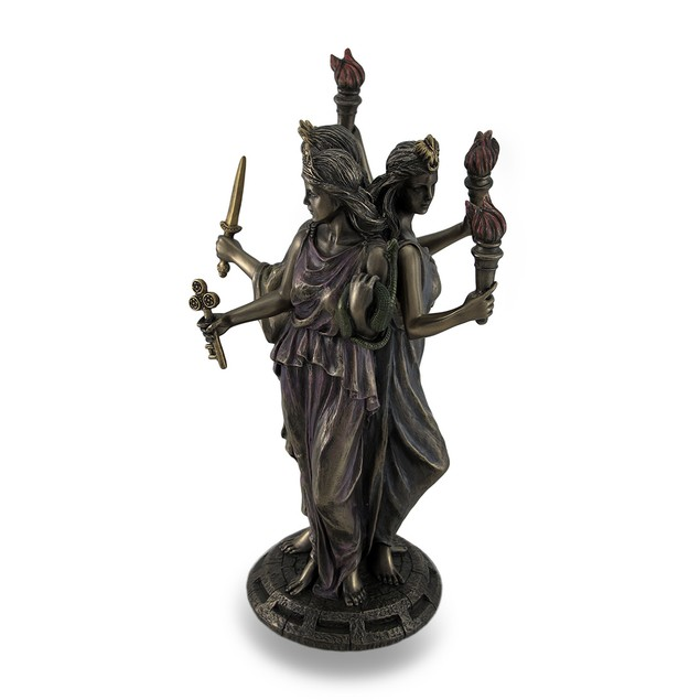 Bronze Finish Triple Form Hecate Greek Goddess Of Statues
