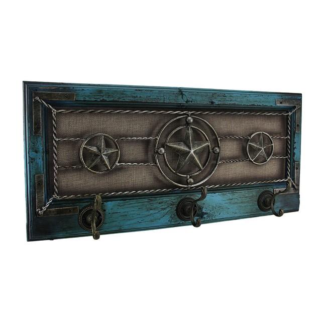 Wood Framed Rustic Western Star Triple Wall Hook Decorative Wall Hooks