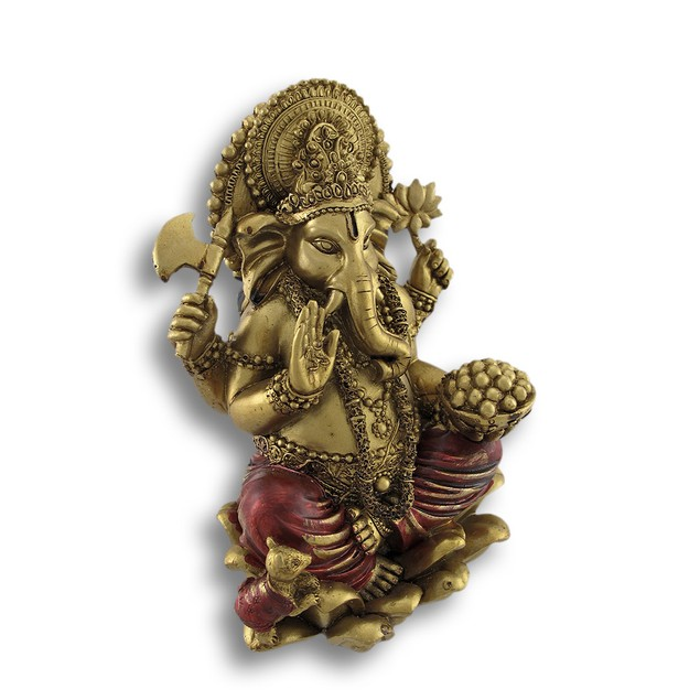 Golden Ganesha Sitting On Lotus Flower Statue Statues